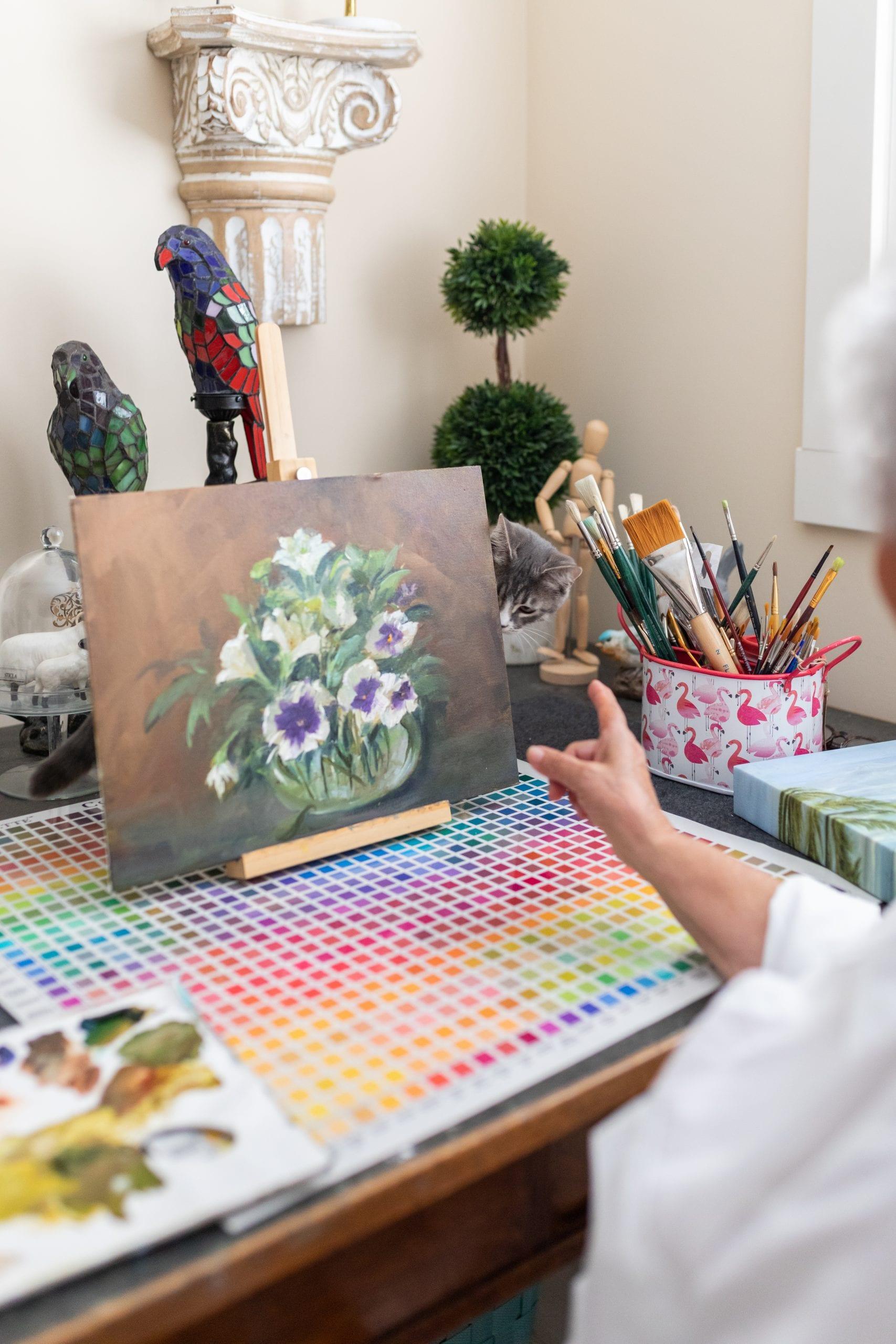 Peggy Harris' art on her desk.