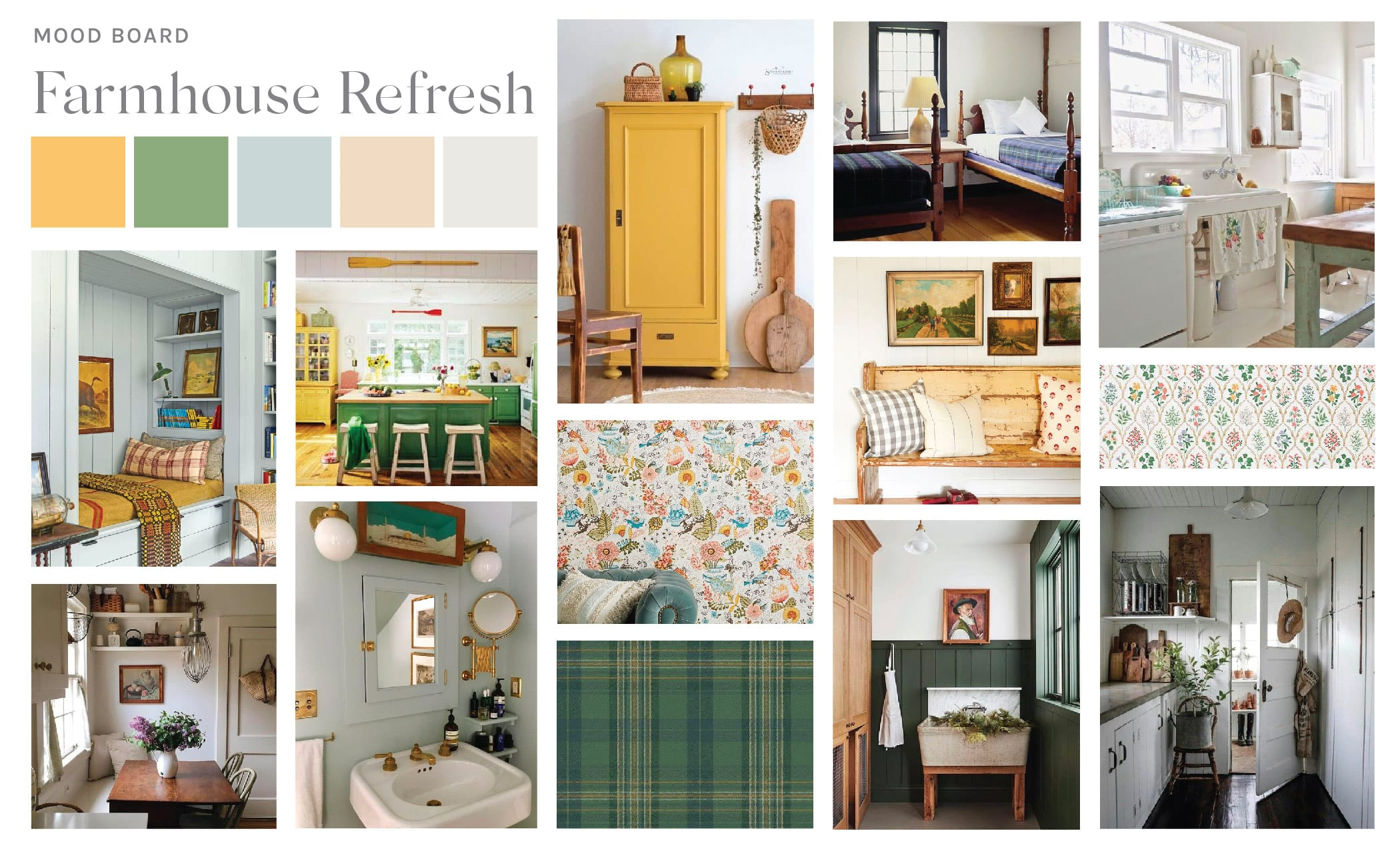 Jillian Harris' farmstead Mood Board showing shades of yellow, green soft blue, beige and antique white.