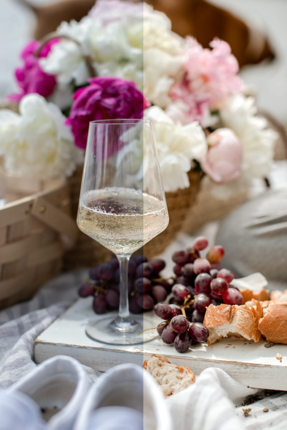 Jillian Harris is now offering Stock Photo Imagery through The Jilly Academy Campus Store such as this  image of a charcuterie board with a cold glass of white wine and a picnic basket filled with florals.