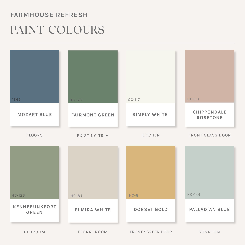 Jillian and Justin's Farmhouse paint colour palette