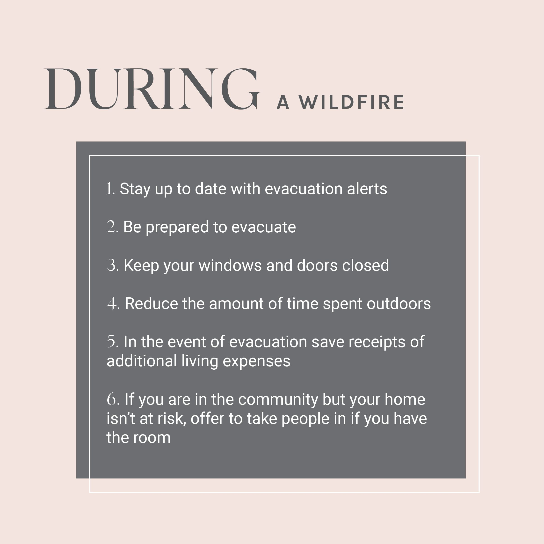 What to do during a wildfires