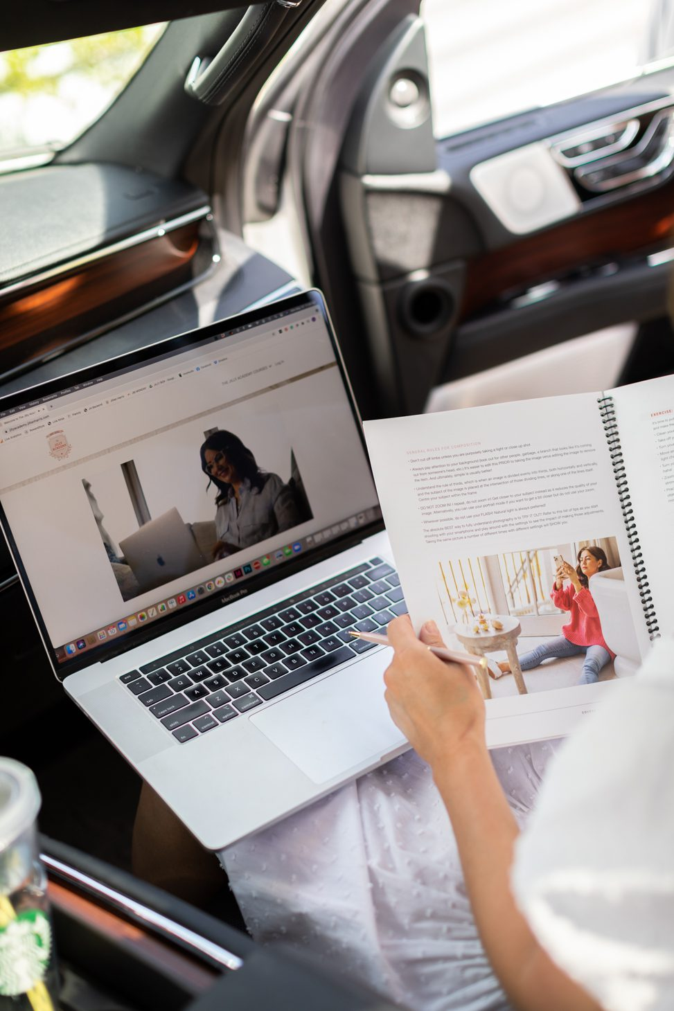 Jillian Harris in her car completing The Jilly Academy Courses on the go for fall semester.