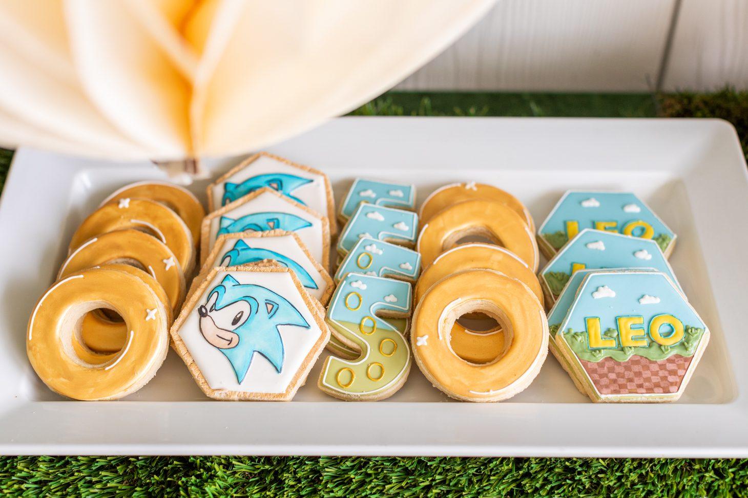 Sonic the Hedgehog themed sugar cookies