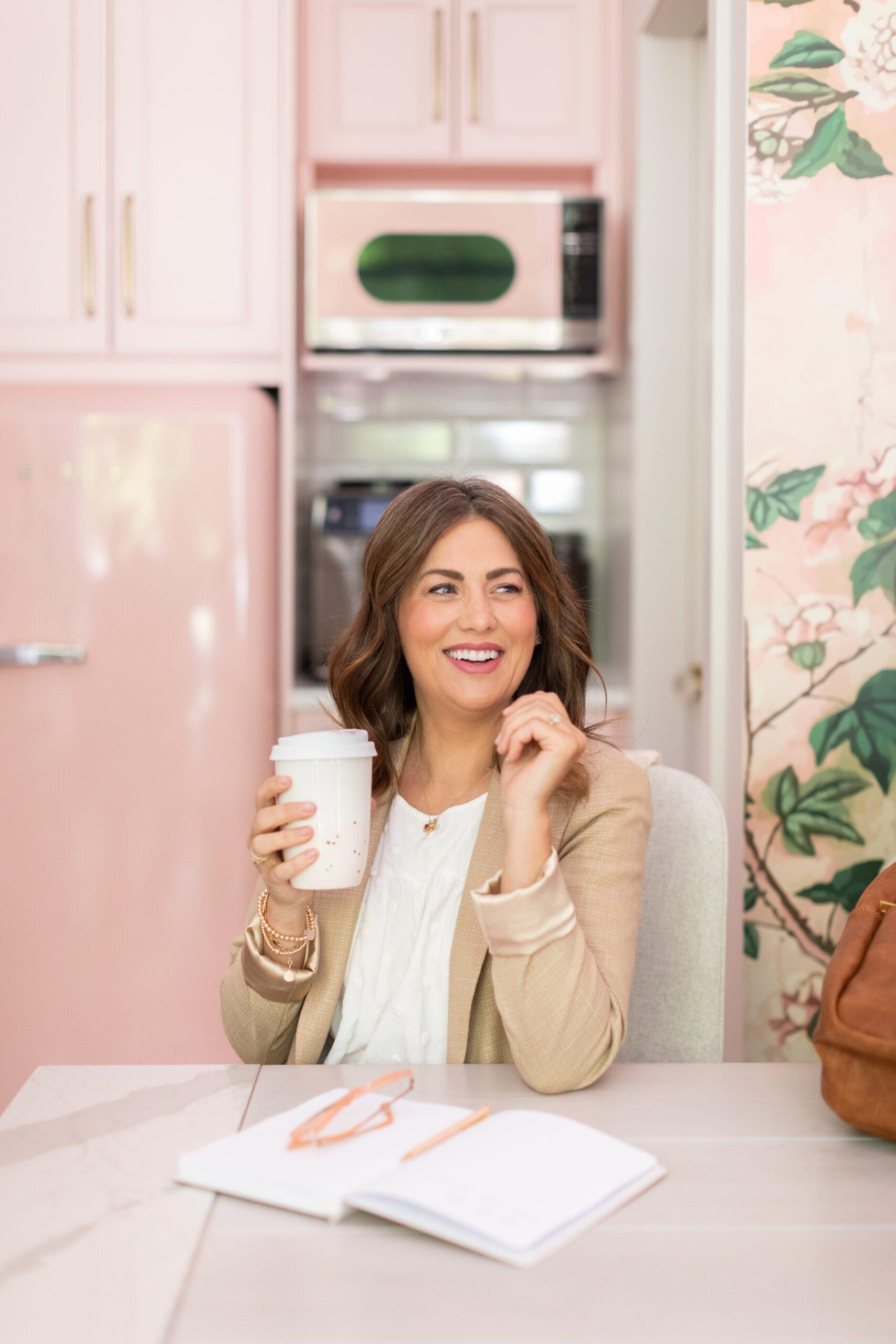Tav Ceramics Pink and Gold Speckled Travel Mug