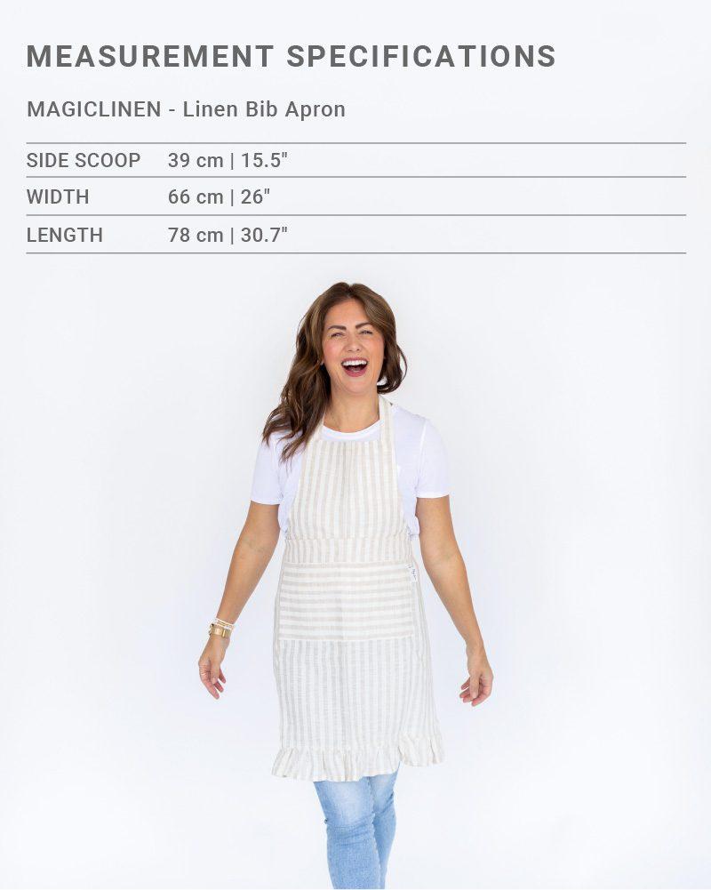 Sizing chart for MagicLinen x Jillian Harris Linen Bib Apron for Winter 2021 Jilly Box