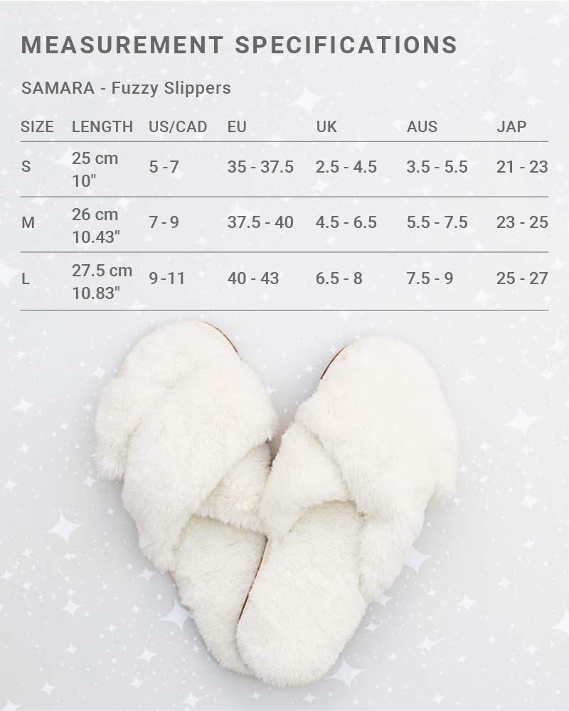 Sizing chart for Samara x Jillian Harris Fuzzy Slippers for Winter 2021 Jilly Box