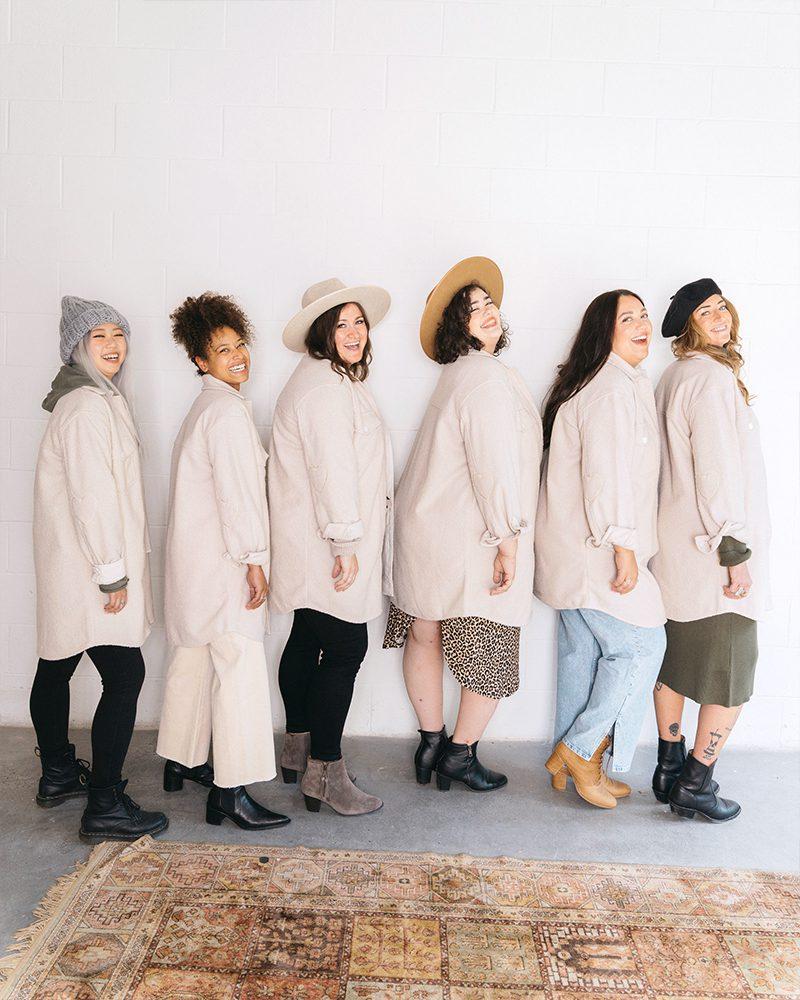 Jackson Rowe Scholar Shacket modelling sizes for Winter 2021 Jilly Box
